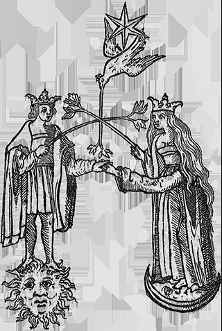 Die Hochzeit von König und Königin, Sonne und Mond, unter dem Einfluss des geistigen Merkurs.
