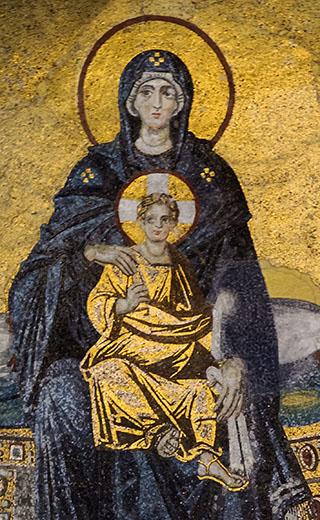 Heilige Jungfrau mit dem Kind. Mosaik aus der Apsis der Hagia Sophia in Istanbul.