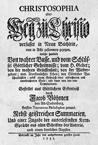 Jakob Böhme: Christosophia, Titelblatt der Amsterdamer Ausgabe von 1731