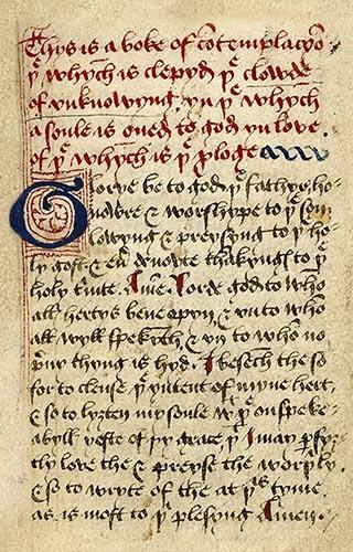 Wolke des Nichwissens: Titelbatt eines Manuskripts aus de 15. Jahrhundert
