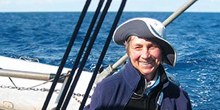 Cynthia Bourgeault on a sailing boat