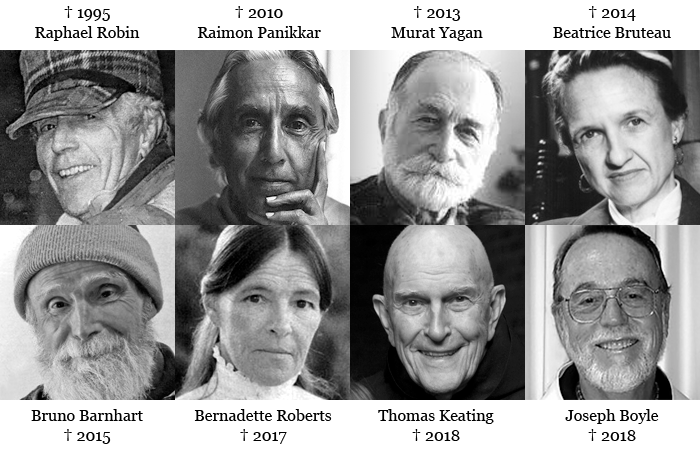Raphael Robin, Raimon Panikkar, Murat Yagan, Beatrice Bruteau, Bruno Barnhart, Bernadette Roberts, Thomas Keating und Joseph Boyle